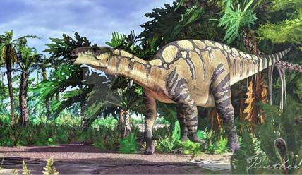 Reconstitution par James Kuether (spécialiste en art historique) d'un Iguanodon dans un paysage du Crétacé. ©www. jameskuether.com