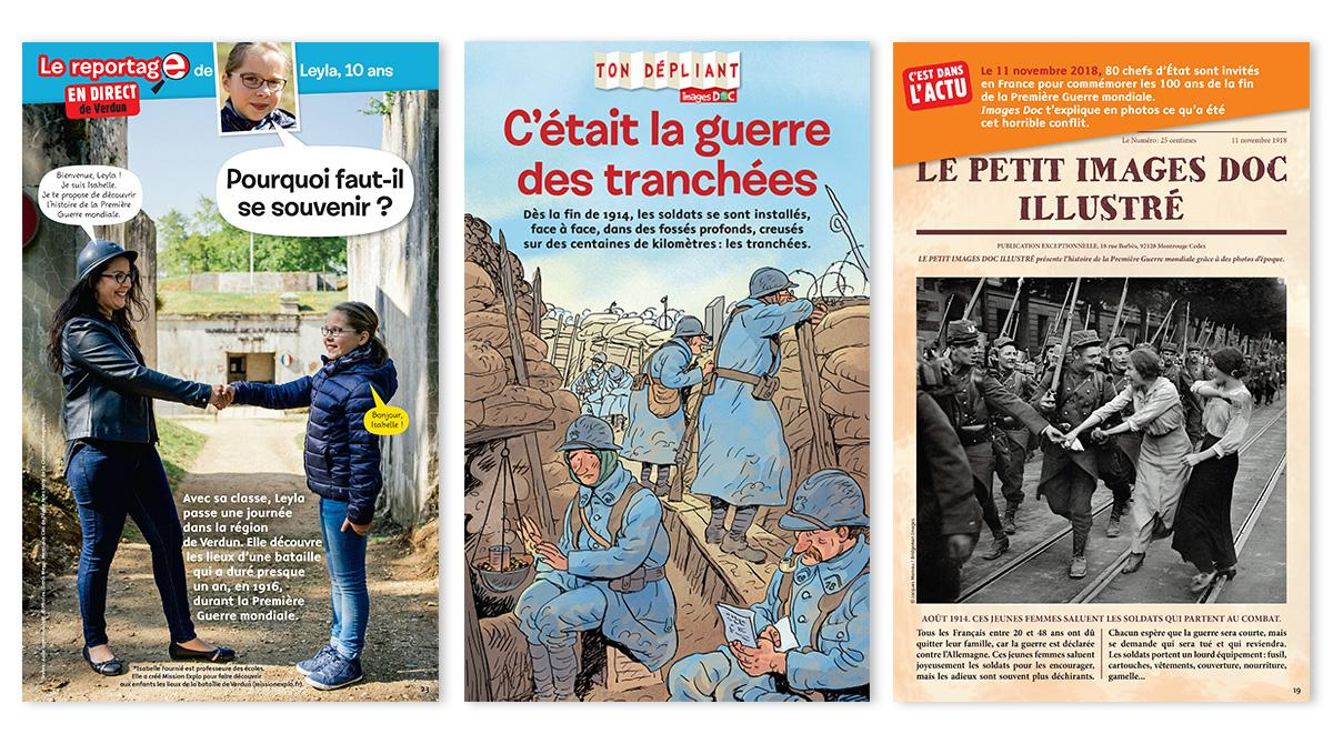 "Images Doc n°359, novembre 2018 : ""Le reportage de Leyla, 10 ans, en direct de Verdun"" - Textes : Aude Loyer-Hascoët. © Photos : Denis Meyer. • ""Ton dépliant : C'était la guerre des tranchées"" - Textes : Pascale Bouchié. Illustrations : Sylvain Frécon. • ""C'est dans l'actu - Le petit Images Doc illustré"" - Textes : Pascale Bouchié. Photo © Jacques Moreau/Bridgeman Images."