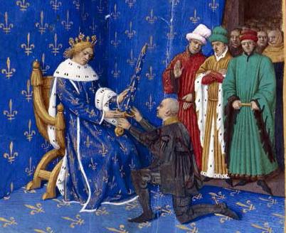 Le 2 octobre 1370, Charles V le Sage remet l'épée de connétable à Bertrand Du Guesclin, célèbre son habileté militaire. © BnF, département des Manuscrits, Français 6465, fol. 434v. (Livre de Charles V)