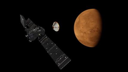16 octobre 2016. La sonde européenne TGO largue le robot atterrisseur Schiaparelli vers la planète Mars. © ESA, ATG Medialab