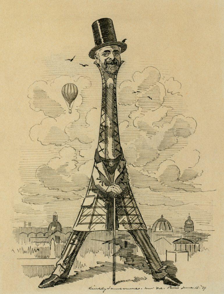 Caricature de Gustave Eiffel en forme de tour par E. L. Sambourne © PD US