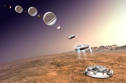 Illustration de Schiaparelli à son arrivée sur Mars, le 19 octobre 2016 © ESA / ATG medialab