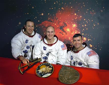 Les 3 membres d'Apollo 13 : Jack Swigert, Jim Lowell, Fred Haise. © DR