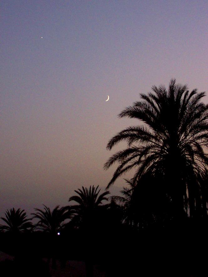 Vénus et la Lune visibles au crépuscule