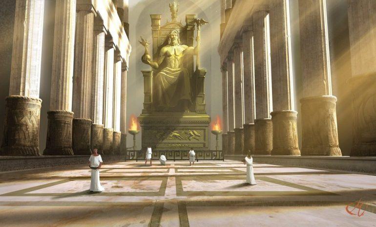 Statue de Zeus à Olympie. (Illustration de Miguel Coimbra. © www.miguelcoimbra.com)