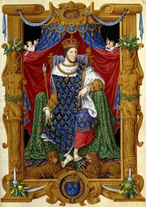 """François Ier en habit de sacre (Département des Manuscrits : """"Maître des Heures de Henri II"""" © BNF)"""