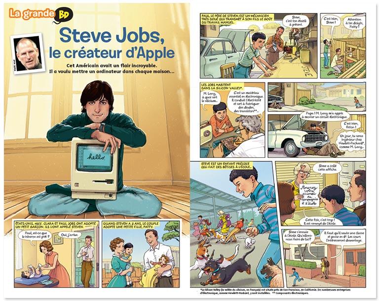"""""""La grande BD : Steve Jobs, le créateur d'Apple"""", Images Doc n° 362, février 2019. Textes : Pascale Bouchié. Illustrations : Didier Éberlé."""