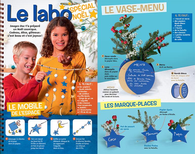 """Téléchargez """"Le labo spécial Noël"""", Images Doc n°372, décembre 2019. Conception et textes: Virginie Rousset. Photos : Benoît Teillet. Schémas: Zoé Schmit."""