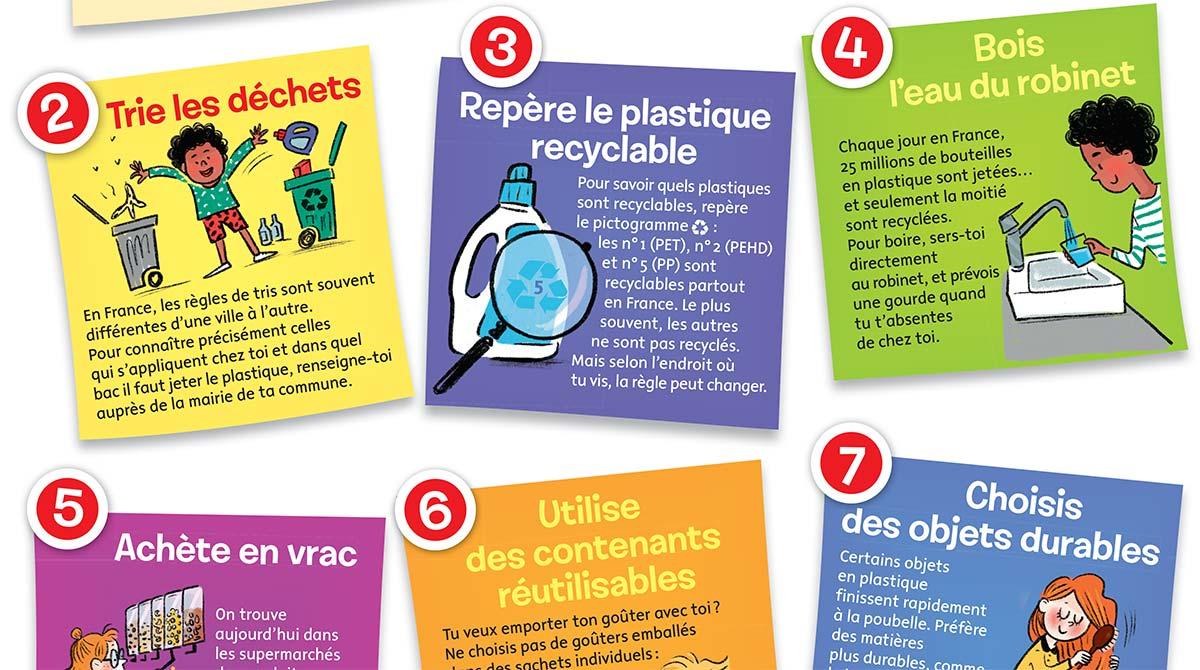"""Poster """"10 gestes pour limiter le plastique !"""", Images Doc n° 373, janvier 2020. Textes: Pauline Payen. Illustrations : Isacile."""