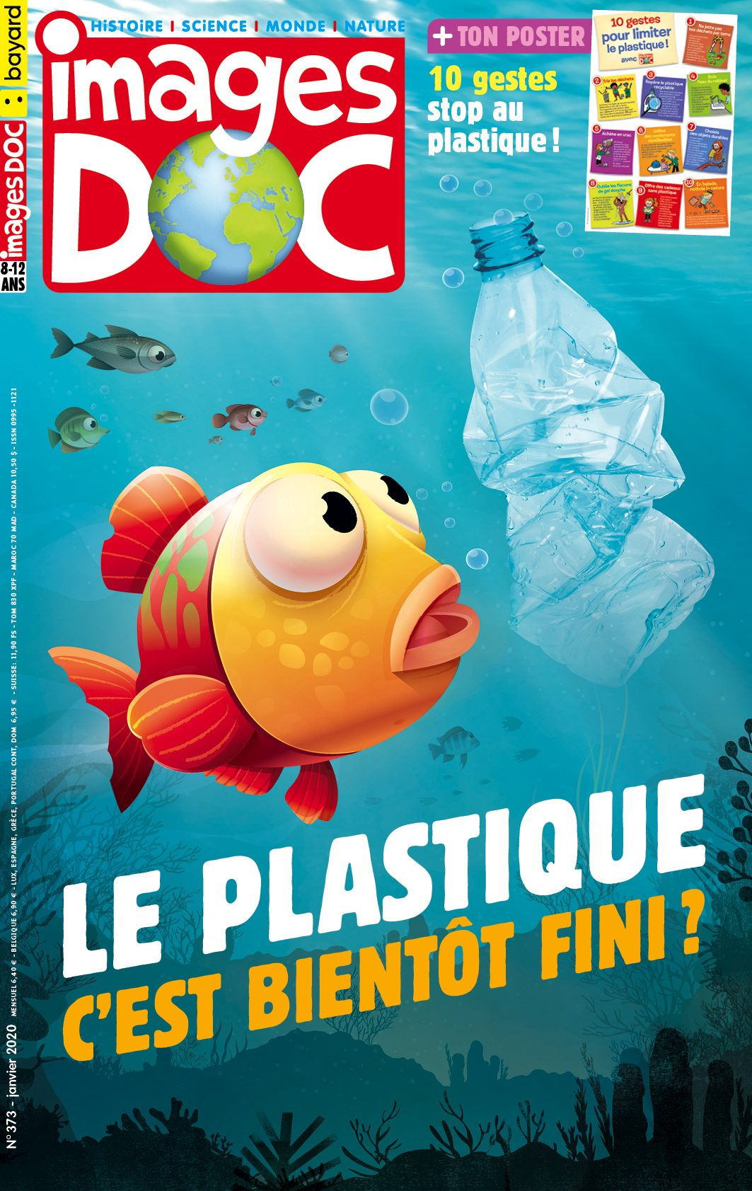 Couverture du magazine Images Doc n°373, janvier 2020Illustration Nicolas Francescon - Le plastique, c'est bientôt fini ?
