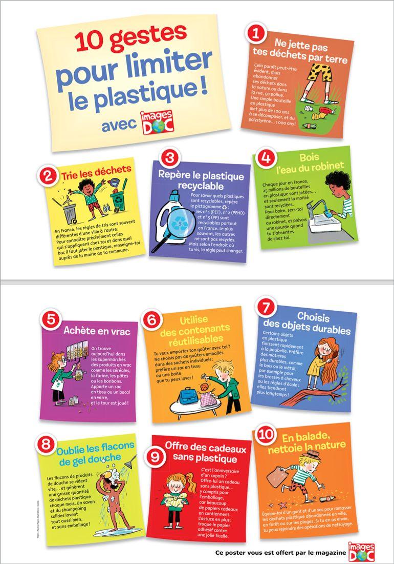 """Poster """"10 gestes pour limiter le plastique !"""", Images Doc n° 373, janvier 2020. Textes : Pauline Payen. Illustrations : Isacile."""