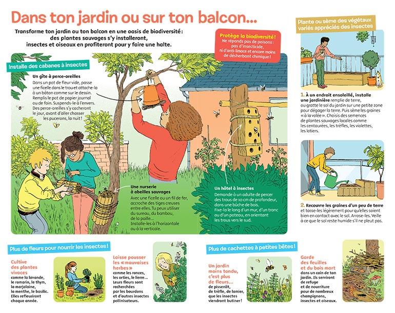 """""""Le labo, spécial biodiversité : Agis pour la nature"""", Images Doc n°377, mai 2020. Textes:Nathalie Tordjman. Illustrations:Claire de Gastold."""