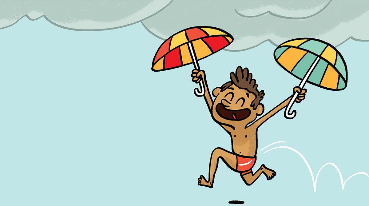 """""""C'est l'actu, les bons gestes pour te protéger du soleil"""", Images Doc n°378, juin 2020. Illustrations : Loïc Méhée."""