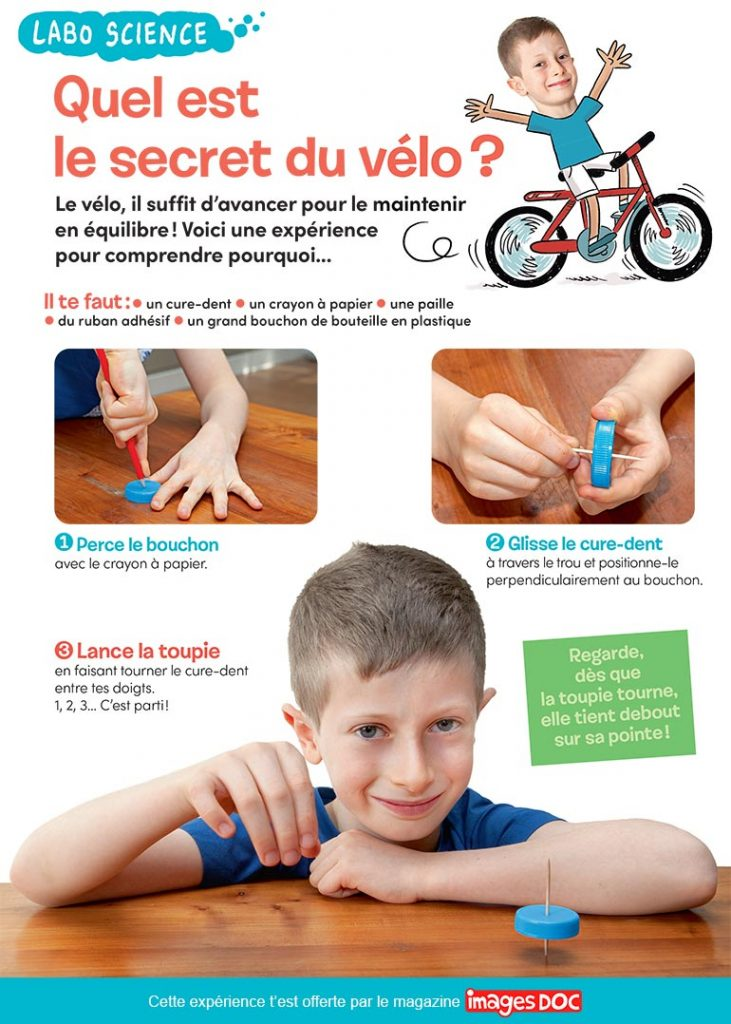 Labo Science : le secret du vélo. Photos : © Rebecca Josset (enfant). © Skycolors - Shutterstock. Illustrations : Sess Boudebesse.
