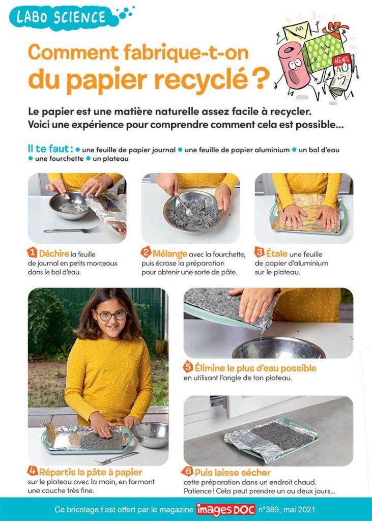 © Photos : Rebecca Josset. Illustrations : Jérôme Sié. Comment fabrique-t-on du papier recyclé ?