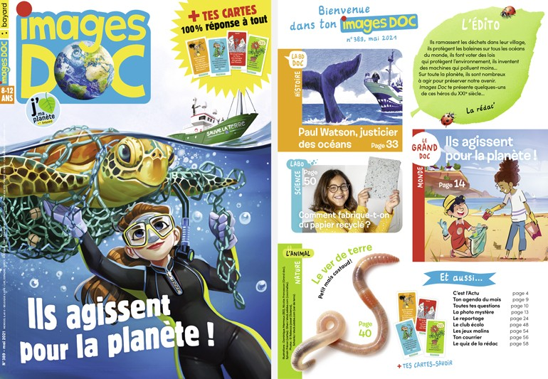 Couverture et sommaire du magazine Images Doc n°389, mai 2021