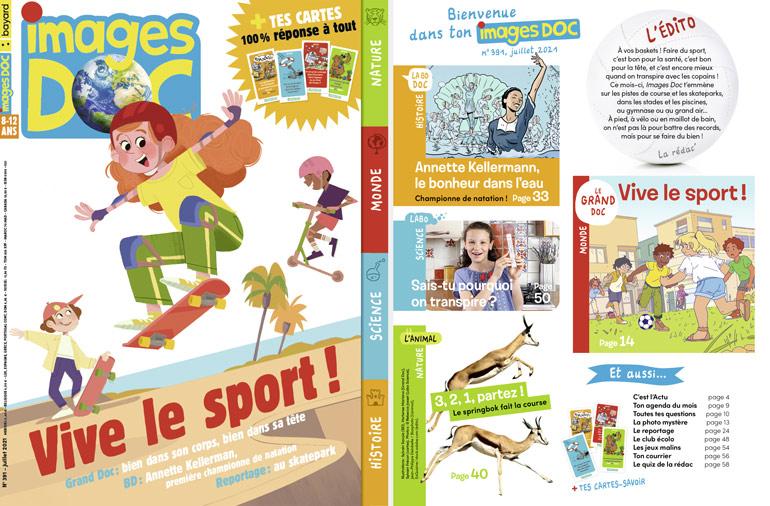 Couverture et sommaire du magazine Images Doc n°391, juillet 2021 - Vive le sport !