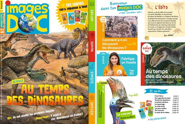 Sommaire du magazine Images Doc n°395, novembre 2021 - Au temps des dinosaures